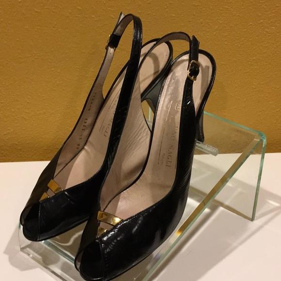 26dcf53abf313 Bruno Magli cuban heel sling back peep toe sz9.5AA